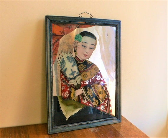 Antique Chinese Reverse Glass Painting Antique Reverse Painted Etsy