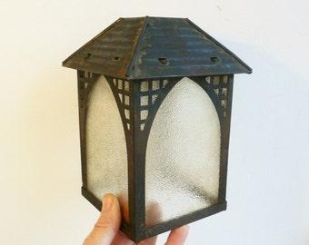 Arts and Crafts lantern ANTIQUE light Mission light small porch light / Chirstmas tea light holder