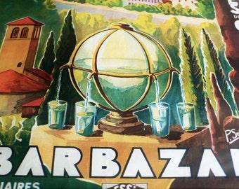 1930s travel poster Barbazan Pyrenees centrales France  Seignouret original travel poster c1935