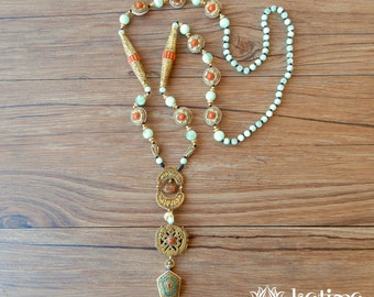 Long ethnic necklace of handcrafted Tibetan pearls and larimar stones