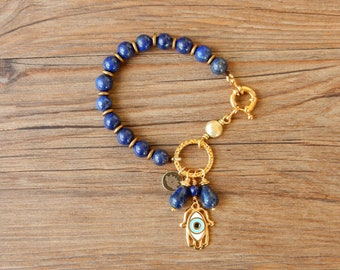 Lapis lazuli bracelet with charming Hand of Fatima and Evil's Eye