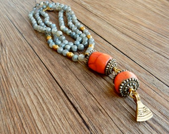 Long labradorite necklace with Tibetan ancient coral beads