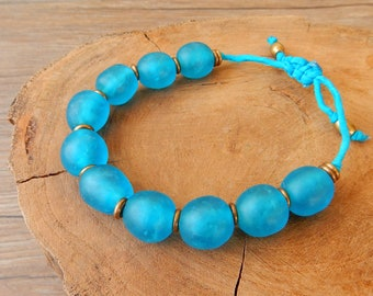 Ethnic bracelet with large African pearls of blue recycled glass