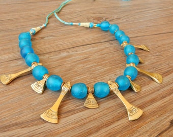 Necklace with blue recycled African glass pearls and brass charms, adjustable