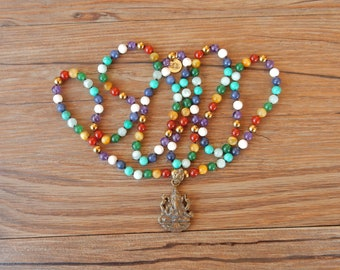 Multicolored ethnic style necklace with mix of stones and Ganesha pendant