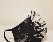 Face Mask Black White Paint Splatters Retro 100 Cotton Reusable with Filter Pocket and Nose Wire, Allergy Mask, Dust Mask, Breathable Mask