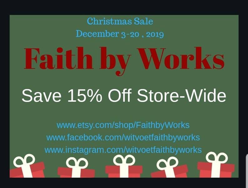 Christmas Sale Cyber Sale Black  Friday Sales Faith by Works