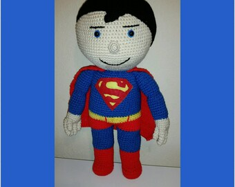Crochet Superman Doll, Handmade Plush Doll, Large Super Hero Dolls, Large Crochet Dolls, Handmade Dolls