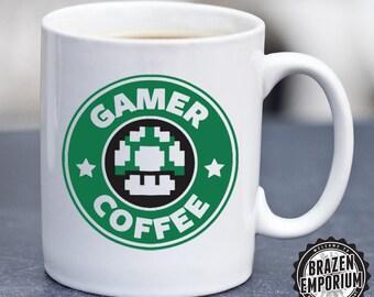 Gamer Coffee, Gaming Humour, Starbucks Mario Parody, 1UP Gaming Funny Coffee - Tea Mug