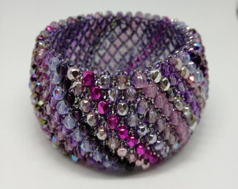 Caprice beaded bracelet purple with Fire Polish crystals
