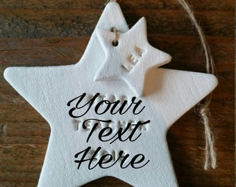 Personalized Star Ornament ~ First Christmas Ornament ~ Clay Ornament ~ Clay Christmas Ornament  ~ Christmas Gift ~ Quote Gift