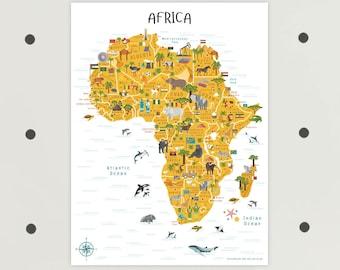 Africa Map, Printable Art, African Animals, INSTANT DOWNLOAD, Africa, South Africa, Map of Africa, African Art, Ethiopia, Egypt, Morocco