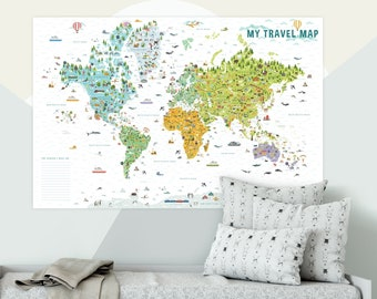 Kids Travel World Map | Gift for Kids | Countries of the World Map | Playroom Decor | Kids Room Decor | World Map Poster | Animal World Map