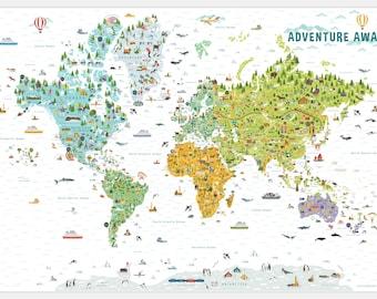 World map for Kids, Playroom Decor, Kids World Map, Classroom Decor, World Map, Homeschool Classroom, Homeschool Decor