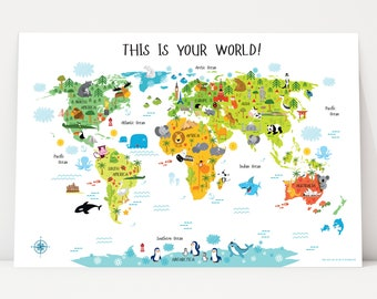 "Printable Wall Art, World Map, Digital Download (up to 36""x54""), Nursery Decor, Kids World Map, Baby Gift, Nursery Wall Art, Playroom Decor"