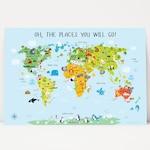 Nursery Decor Boy, World Map Poster, Boy Nursery Decor, Baby Shower Gift, Newborn Gifts, Oh The Places You Will Go, Australia, USA, Canada