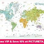 Travel World Map, Kids World Map,  Kids Room Decor, Interactive Kids World Map, Kids World Map, Unique Gift for Kids, Travel Map World, USA