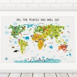 World Map Wall Art, Kids World Map, Baby Gift, Nursery Decor, Playroom Decor, Birthday Gift, Map of The World, Oh, The Places You Will Go