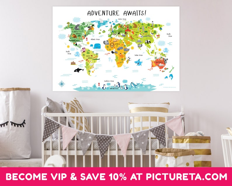 Kids World Map Poster Animal World Map Playroom Wall Decor image 0