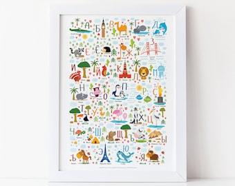 Russian Nursery, Russian Alphabet, Russian Baby, Animal Alphabet, Alphabet, Cyrillic Alphabet, Nursery Decor, Playroom Decor, Nursery Prints