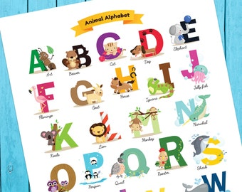 Printable Animal Alphabet Poster, Baby Shower Gift, Animal Poster, ABCs, Kids Room Print, Nursery Print, Instant Download, Playroom Art
