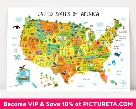 USA map, United States Map, USA, Kids Map, Map of Usa, US map, United  States, Map Poster, Usa Map Poster, Map of America