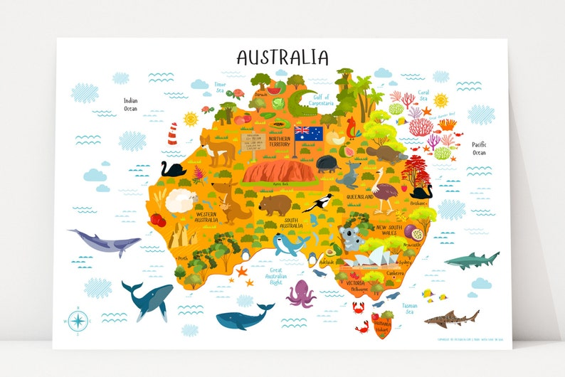 Australia Map Printable Wall Art Digital Download up to image 0