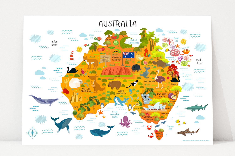 Australia Map Printable Wall Art Digital Download up to   Etsy