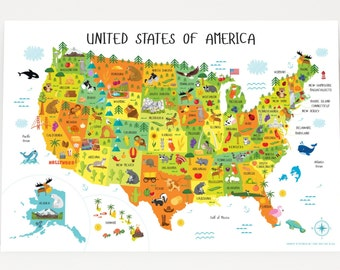 Unique Baby Gifts, United States Map for Kids, USA Map, USA Map Poster, Wall Map, First Birthday Gift, Nursery Decor, Playroom Décor