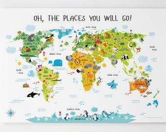 World Map Canvas, World Map Wall Art. Nursery Wall Art, Canvas Wall Art, Kids Room Décor, Baby Gift, Canvas Art, Playroom Decor