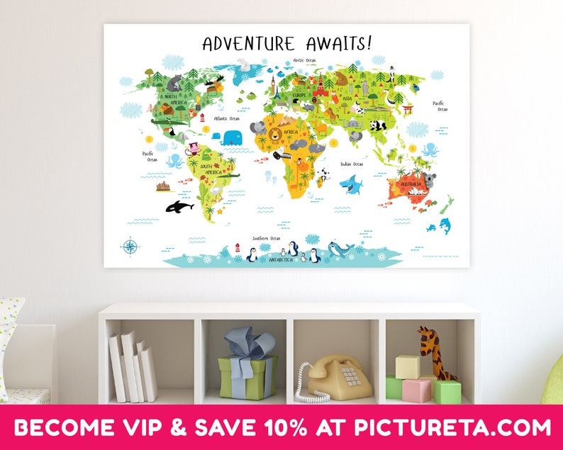 World Map Nursery Wall Art Playroom Decor Nursery Decor image 0