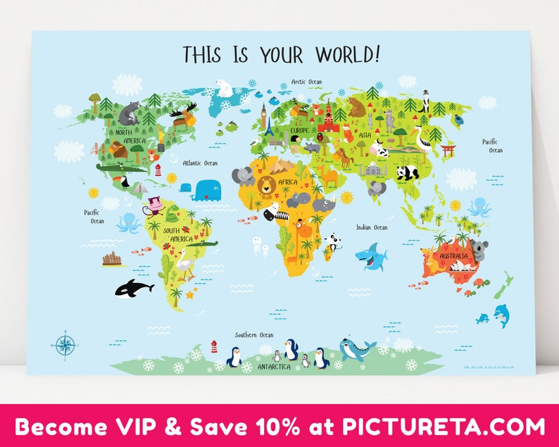 Unique Baby Gift Childrens World Map Poster Nursery Decor image 0