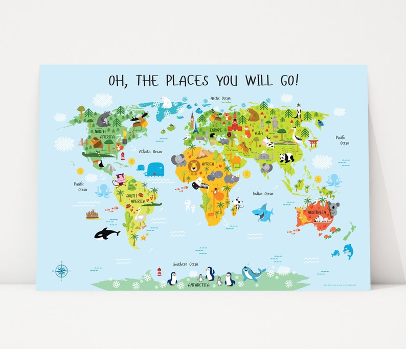 Map for Kids Poster Geography for Kids Creative Baby Shower image 0