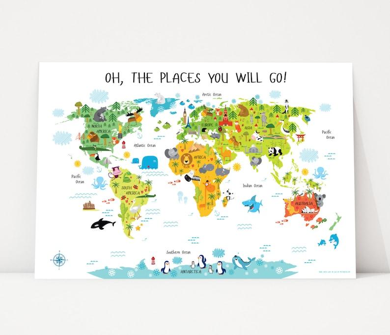 Nursery Printables  Printable Wall Art World Map Nursery image 0