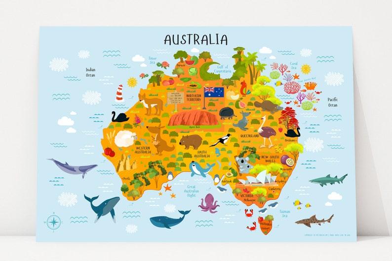 Australia Map Kids Australian Animals Nursery Decor Kids image 0