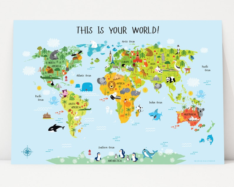 Printable Wall Art World Map Instant Download Nursery image 0