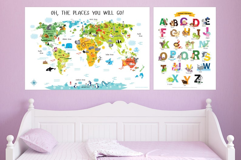 Baby Shower Gift Girl Childrens World Map and English image 0