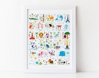 Playroom Decor, Animal Alphabet, Alphabet Printable, Travel Alphabet, Instant Download, Nursery Decor, ABCs, Kids Prints, Baby Gift