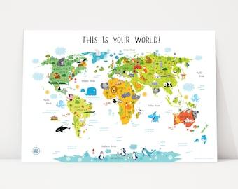 Kids World Map, Playroom Wall Decor, Nursery World Map, World map poster, Animal World Map, Kids Room Wall Map, Illustrated World Map