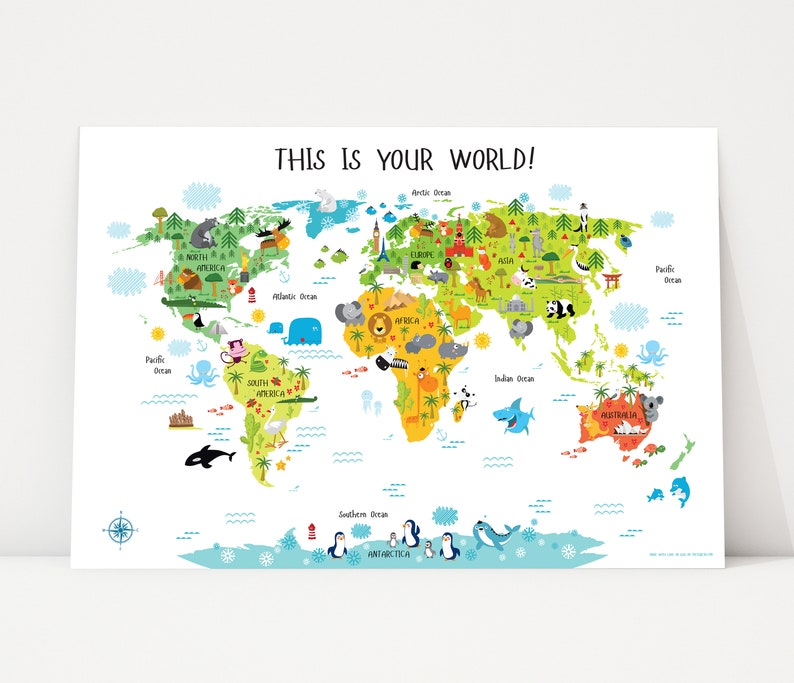 Kids World Map Playroom Wall Decor Nursery World Map World image 0
