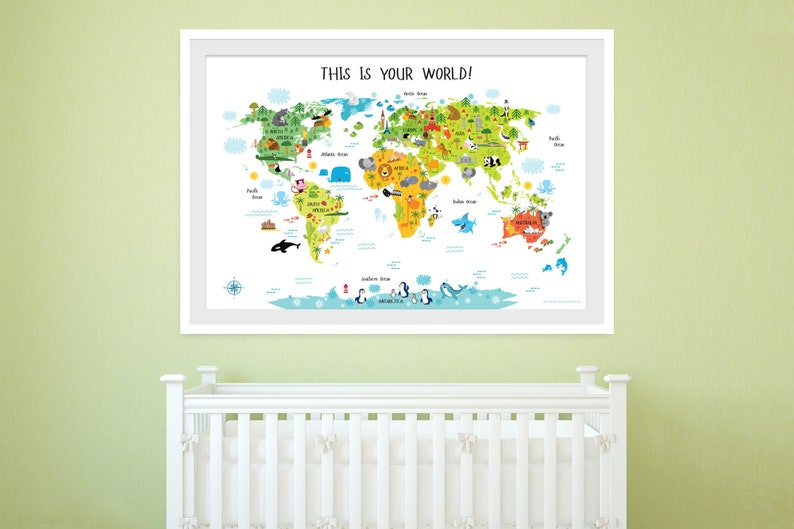 Kids World Map Playroom Wall Decor Nursery World Map World image 0
