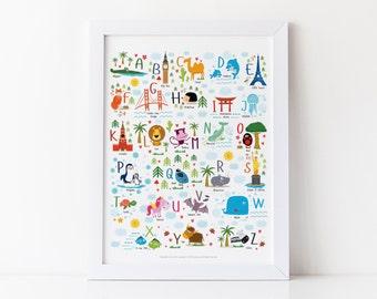 Travel Nursery, Alphabet Poster, Adventure Nursery, Travel Nursery Art ,Travel Nursery Decor, Alphabet Print, Animal Alphabet, Baby Gift