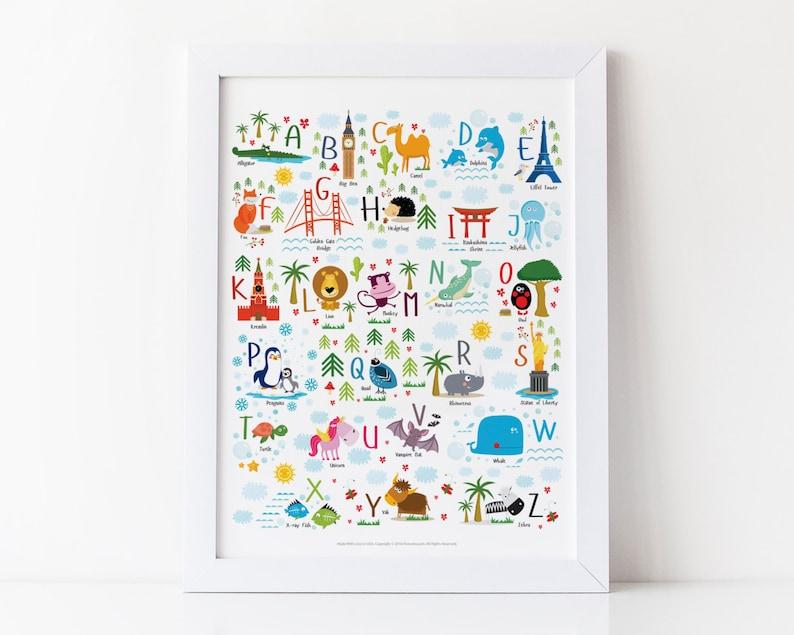 Travel Nursery Alphabet Poster Adventure Nursery Travel image 0