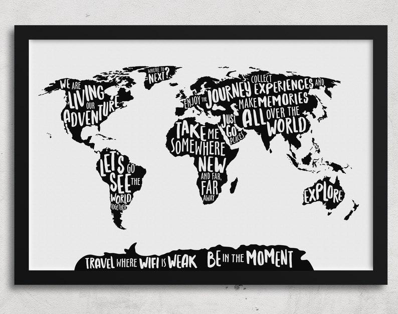 World Map Wall Art Modern Office Poster World Map Poster image 0