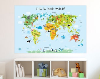 Children's World Map, Printable Wall Art, INSTANT DOWNOAD, Nursery Decor, World Map, Baby Gift, Baby Shower Gift, Playroom Decor