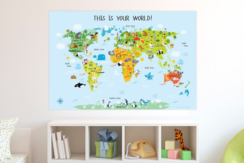 Children's World Map Printable Wall Art INSTANT DOWNOAD image 0