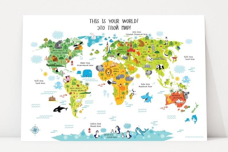 World Map Russian Baby Gifts World Map Wall Art Russia image 0