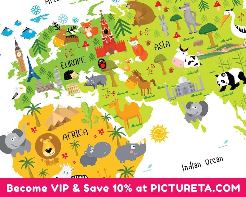 Kids World Map Nursery Decor Nursery Wall Art Girl Nursery image 0