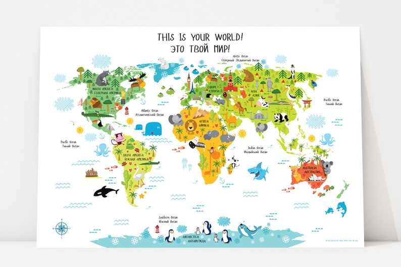 World Map for Kids in Russian-English  Digital Download World image 0