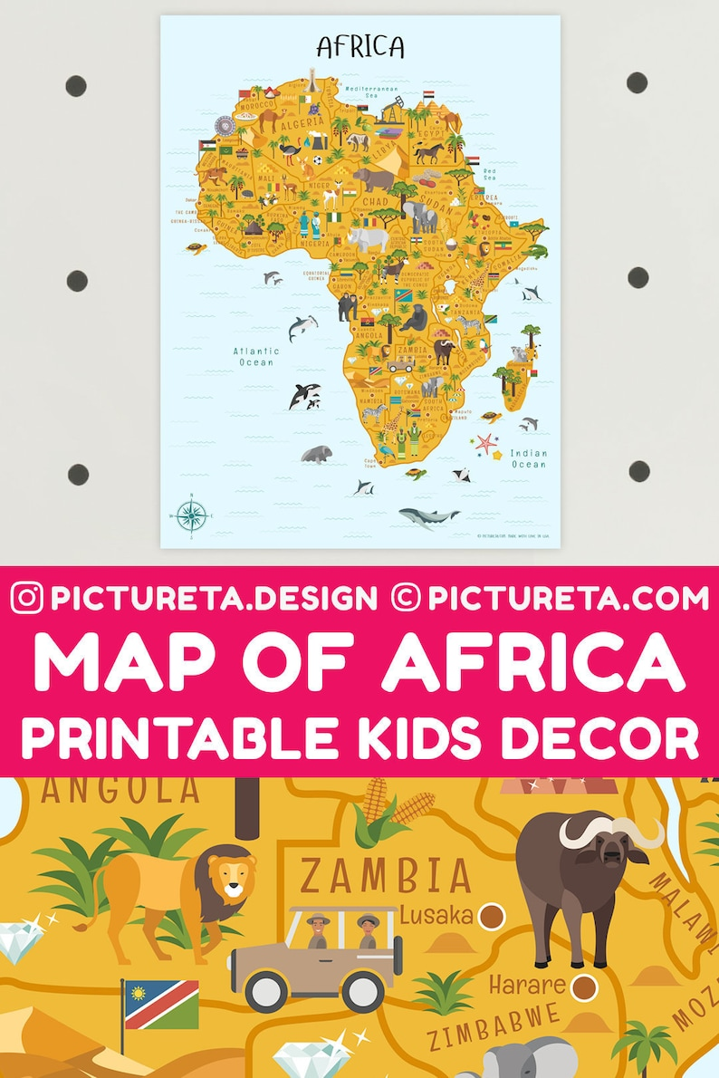 Kids Wall Art Africa Map Art Playroom Decor INSTANT | Etsy